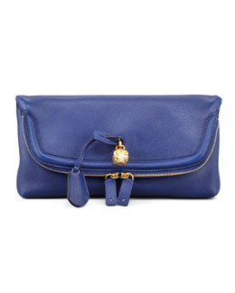 Alexander McQueen Skull Padlock Fold-Over Clutch Bag, Royal Blue