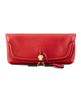 Alexander McQueen Skull Padlock Fold-Over Clutch Bag, Red