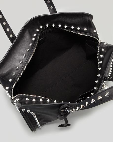 Alexander McQueen Studded Padlock Satchel Bag, Black