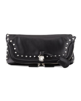 Alexander McQueen Studded Skull Padlock Fold-Over Clutch Bag, Black/Nickel