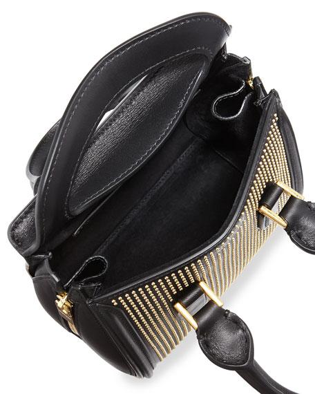 Heroine Studded Leather Mini Satchel Bag, Black/Golden