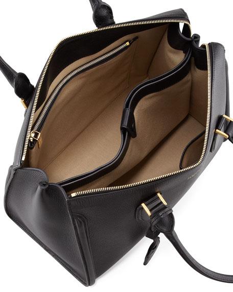 8a5b29c68 Alexander McQueen Heroine Grain Leather Zip-Up Tote Bag, Black