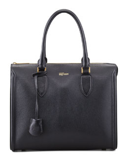 Alexander McQueen Heroine Grain Leather Zip-Up Tote Bag, Black