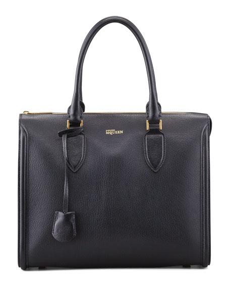 Heroine Grain Leather Zip-Up Tote Bag, Black