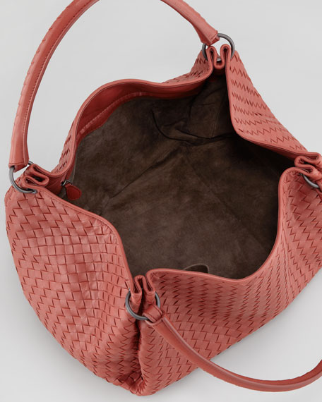 Double-Strap Woven Leather Hobo Bag, Medium Red