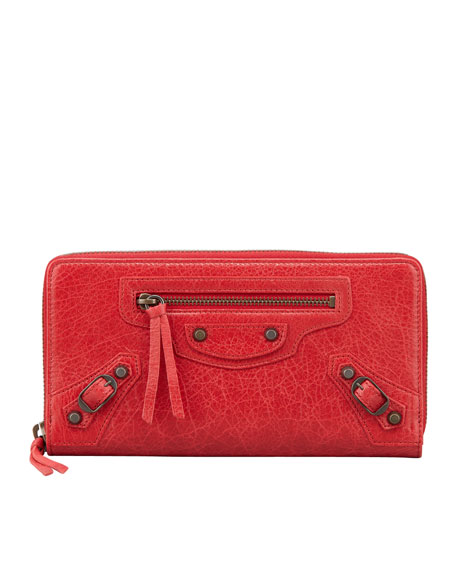 Classic Continental Zip Wallet, Rouge Cardinal