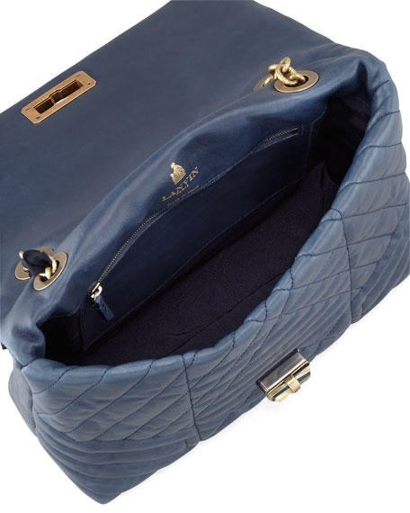 Happy Medium Quilted Leather Shoulder Bag, Navy