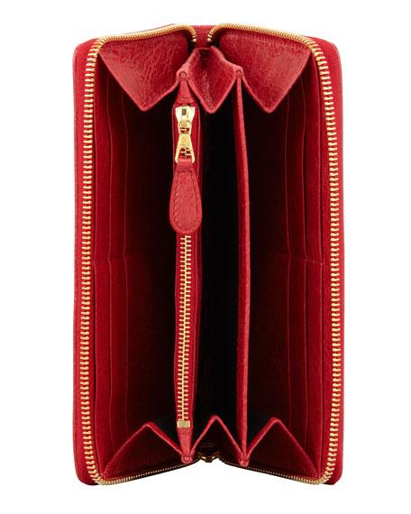 Giant Golden Continental Zip Wallet, Rouge Cardinal