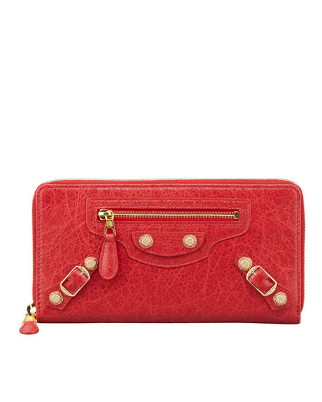 Balenciaga Giant Golden Continental Zip Wallet, Rouge Cardinal