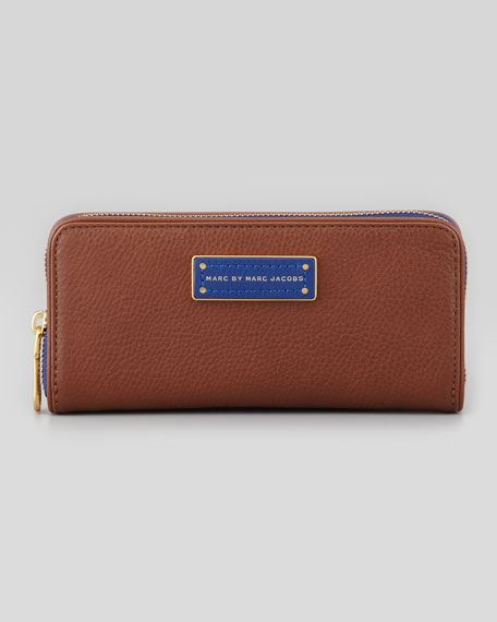Too Hot to Handle Colorblock Slim Wallet, Redwood/Blue