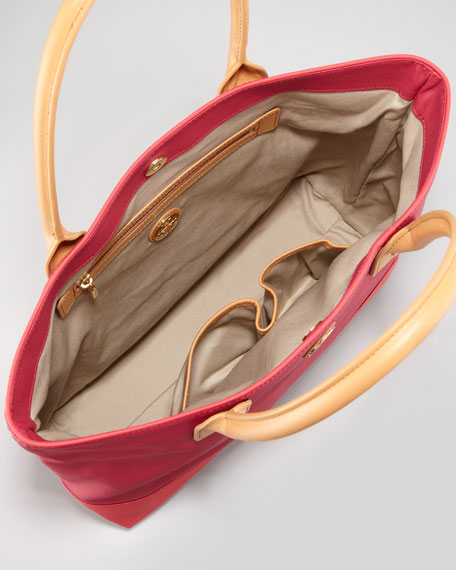 Jaden Large Nylon Tote Bag, Auburn/Carmine
