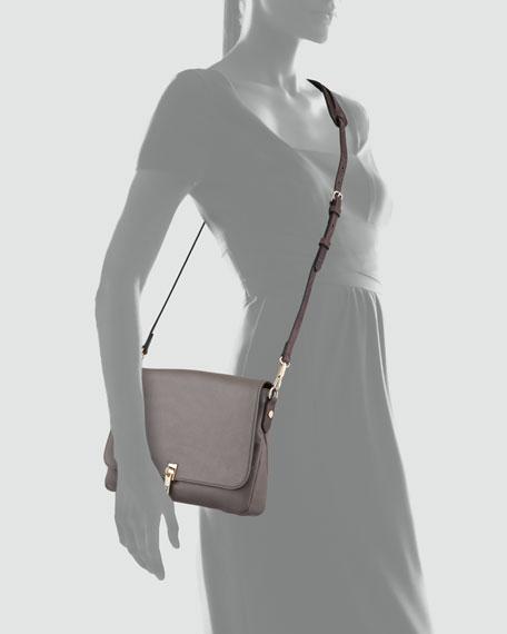 Leather Mini Crossbody Bag, Light Cinder