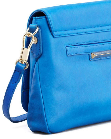 Leather Mini Crossbody Bag, Electric Blue