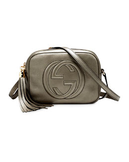 Gucci Soho Metallic Leather Disco Bag, Pewter