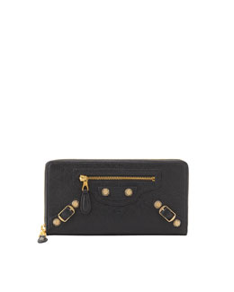 Balenciaga Giant Golden Continental Zip Wallet, Anthracite