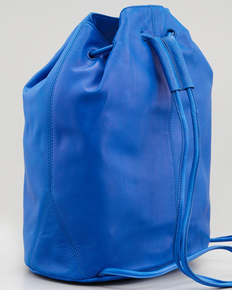 Leather Drawstring Backpack, Electric Blue