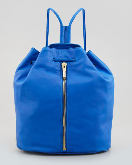 Elizabeth and James Leather Drawstring Backpack, Electric Blue