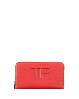 Tom Ford Large Logo Zip Wallet, Flame Red