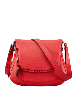 Tom Ford Jennifer Small Calfskin Crossbody Bag, Flame Red