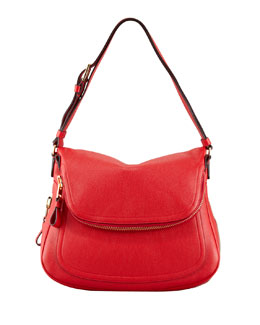 Tom Ford Jennifer Medium Calfskin Shoulder Bag, Flame Red