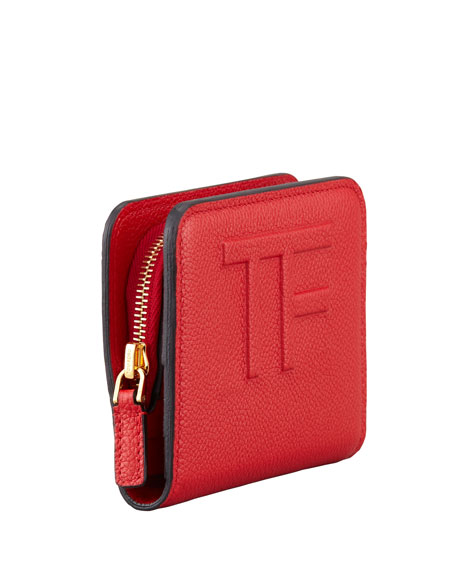 Small Zip Wallet, Flame Red
