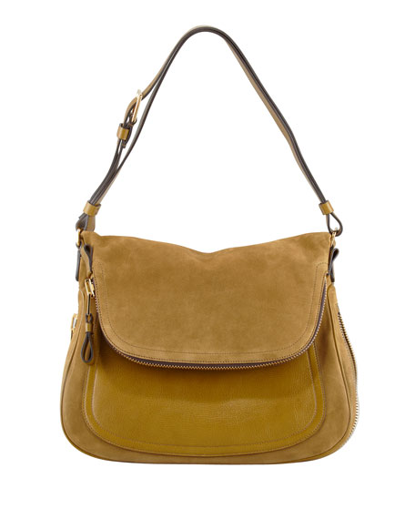 Jennifer Medium Suede Shoulder Bag, Olive