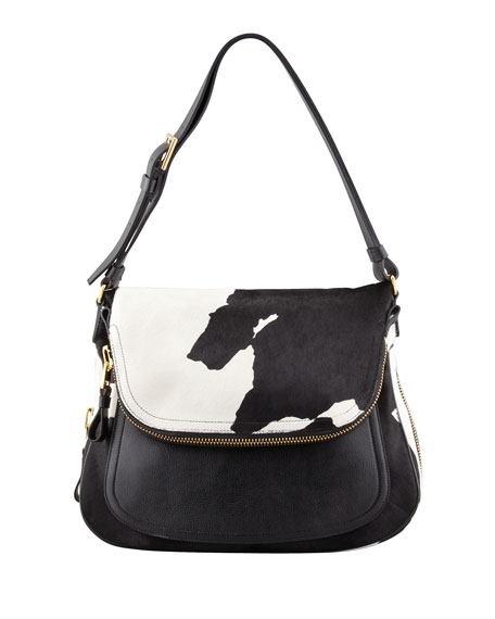 Jennifer Calf Hair Shoulder Bag, Black/White