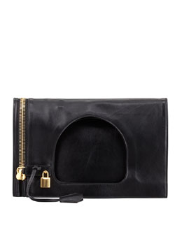 Tom Ford Alix Small Padlock & Zip Shoulder Bag, Black