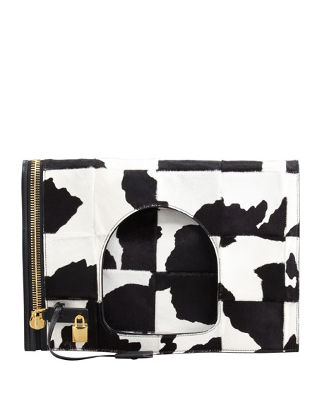 Alix Calf Hair Padlock & Zip Shoulder Bag, Black/White