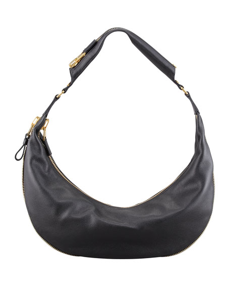 Medium Slim Leather Hobo Bag, Black