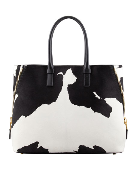 Jennifer Trapeze Calf Hair Tote Bag, Black/White