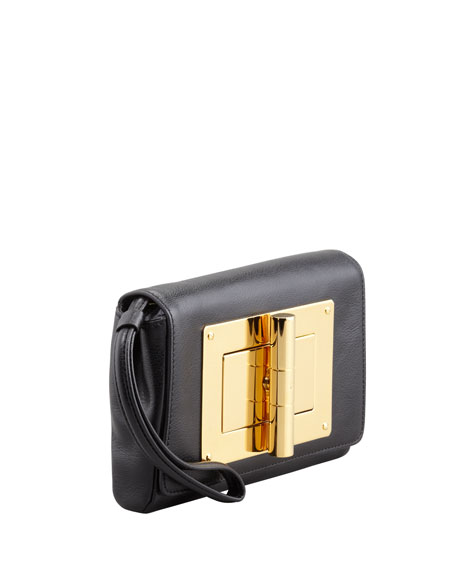 Natalia Turn-Lock Wristlet Bag, Black