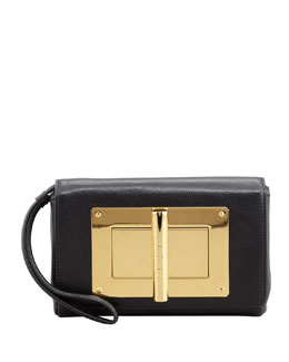 Tom Ford Natalia Turn-Lock Wristlet Bag, Black