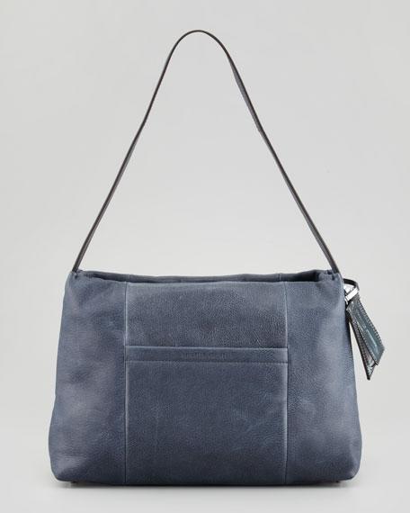 Medium East/West Leather Satchel Bag, Midnight