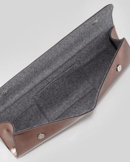 Long Slim Metallic Leather Clutch Bag, Copper