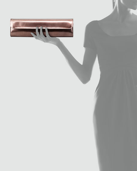 Long Slim Metallic Leather Clutch Bag, Copper
