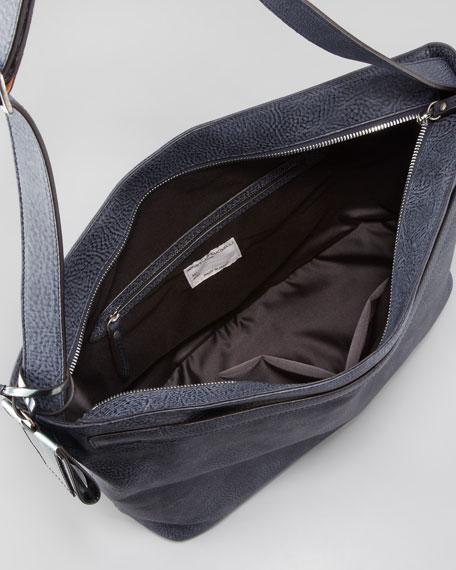 Medium Slim Leather Hobo Bag, Midnight