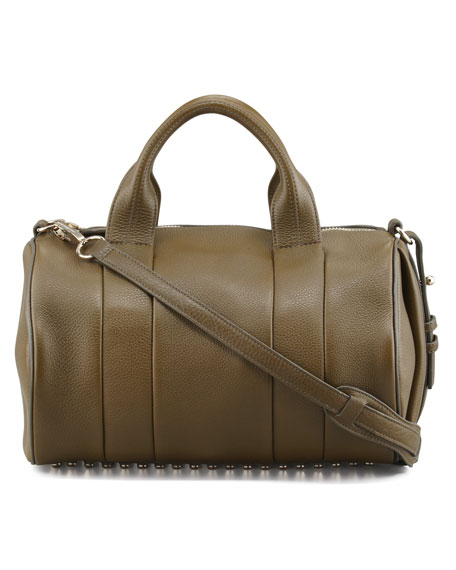 Rocco Stud-Bottom Satchel Bag, Olive/Yellow Golden