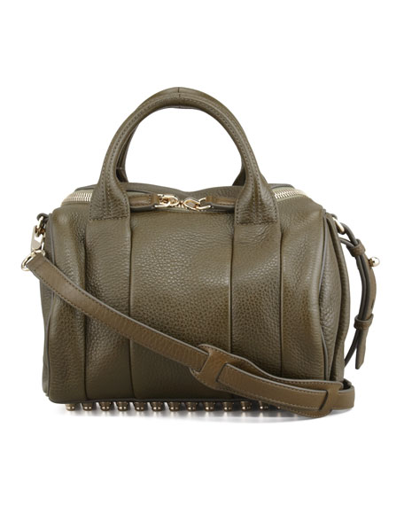 Rockie Small Crossbody Satchel Bag, Olive/Yellow Golden