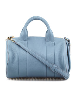 Alexander Wang Rocco Stud-Bottom Satchel Bag, Mercury Light Blue/Yellow Golden