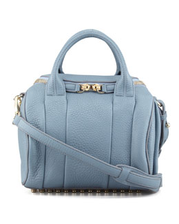 Alexander Wang Rockie Small Crossbody Satchel Bag, Mercury Light Blue/Yellow Golden