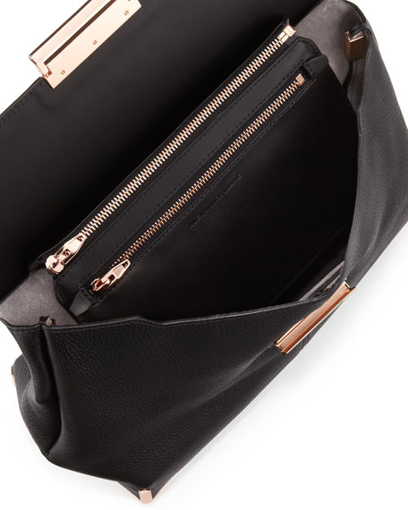 Marion Leather Shoulder Bag, Black