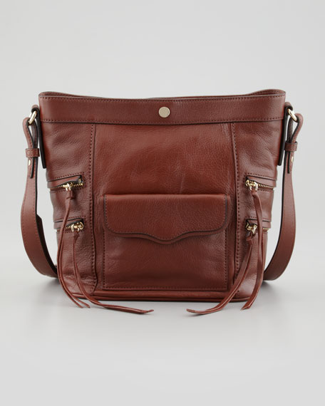 Dexter Leather Bucket Bag, Mahogany