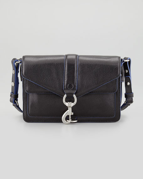 Hudson Moto Mini Crossbody Bag, Black/Blue