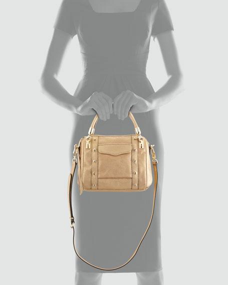 Cupid Mini Metallic Satchel Bag, Gold