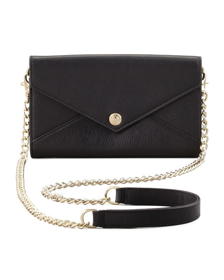 Leather Wallet-on-a-Chain Bag, Black