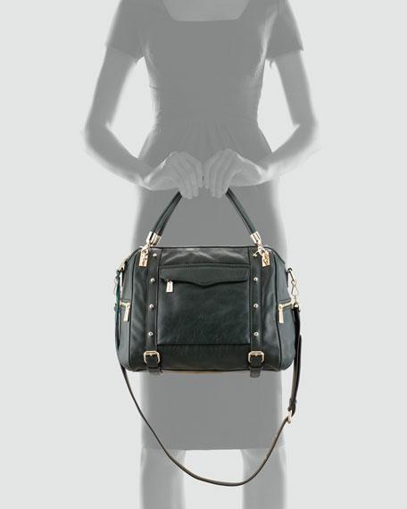 Cupid Studded Satchel Bag, Hunter