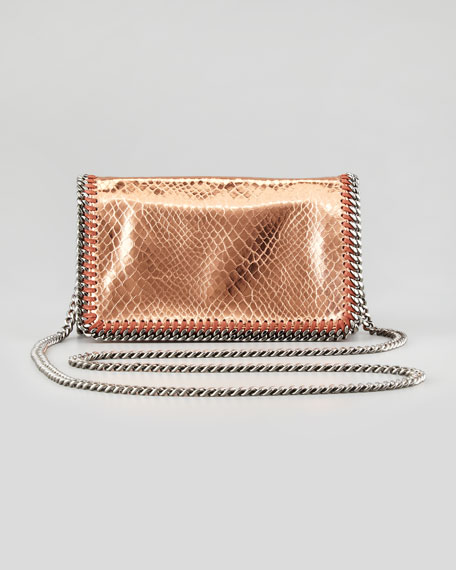 Falabella Faux-Snake Chain Crossbody Bag, Copper Rose