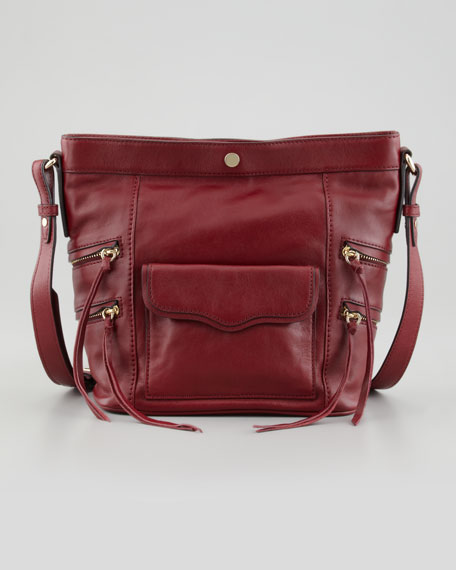Dexter Leather Bucket Bag, Port