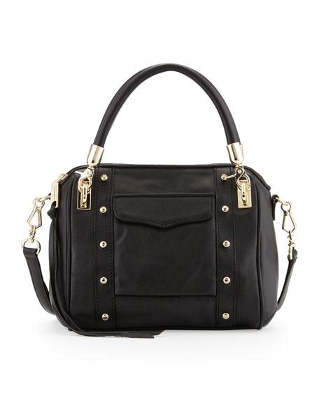 Cupid Mini Leather Satchel Bag, Black